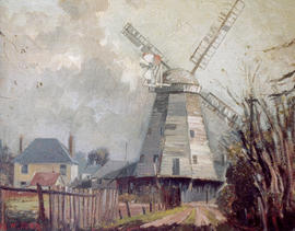 Painting of Upminster Windmill by M. Ford