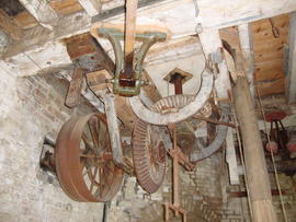 Engine drive, governor and tentering gear, Cattell's smock mill, Willingham, Cambs