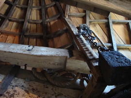 Cap roof framing and brake lever, Stansted Windmill, Stansted Mountfitchet