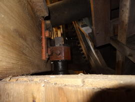 Top bearing of upright shaft, tower mill, Great Bircham