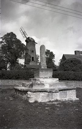 """The windmill, Quainton, Bucks - view from village green, with remains of cross in foregroun..."