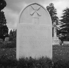 Union Mill, Cranbrook, Kent, John Russell's headstone