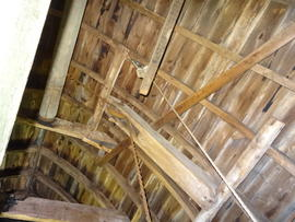 Roof framing and sack hoist mechanism, Pitstone Windmill, Pitstone