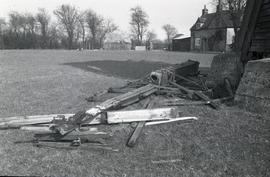 """Windmill at Lacey Green, Bucks - remains of damaged sail on ground"""