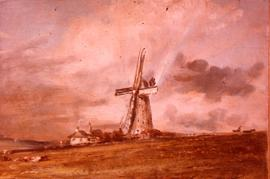 """Constable, V&A Museum 1824, 'Windmill among houses'"""