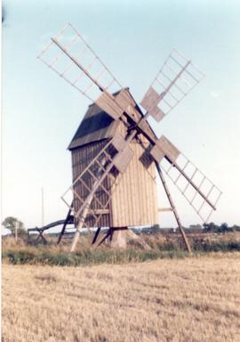 Post mill(1) at Bjornhovda on island of Oland, Sweden, summer 1974