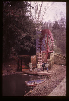 Painshill Park Waterwheel, Cobham, Surrey with house