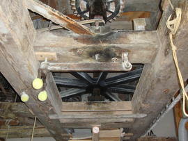 Great spur wheel, stone nut and upright shaft support frame, Foster's Mill, Swaffham Prior