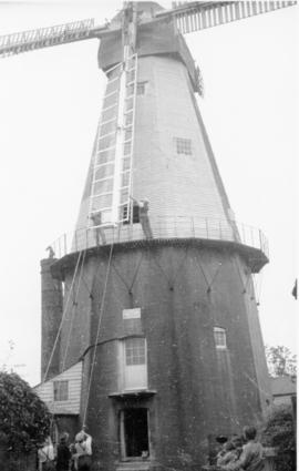 Sail being fixed, Union Mill, Cranbrook