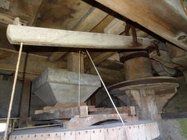 Stones, upright shaft, crown wheel and sack hoist disengagement lever, Chesterton Windmill, Chesterton