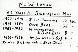 Summary of service of Mr Loman