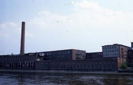 """Lowell, USA, Massachusetts Mills from river"""