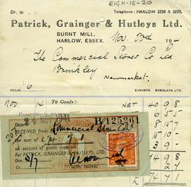 Bill for purchase of goods, Harlow, Essex