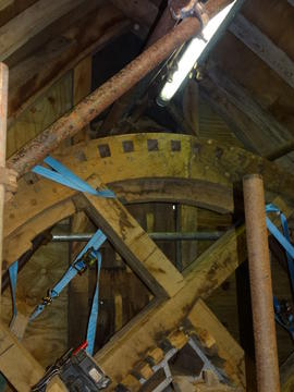 Brakewheel and front roof gable framing, post mill, Chinnor