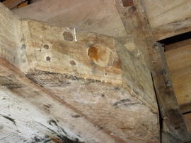Hole in cheek piece on bridge beam, White Mill, Sandwich