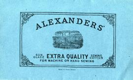 Sewing cotton samples envelope depicting Alexanders' Crofthead Mill