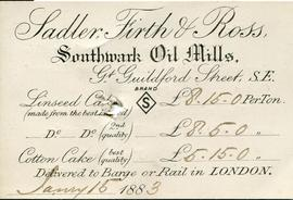 Delivery card of Sadler, Firth and Ross, Southwark Oil Mills