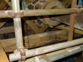 Windshaft, sack hoist drive and sprattle beam (original), post mill, Chinnor