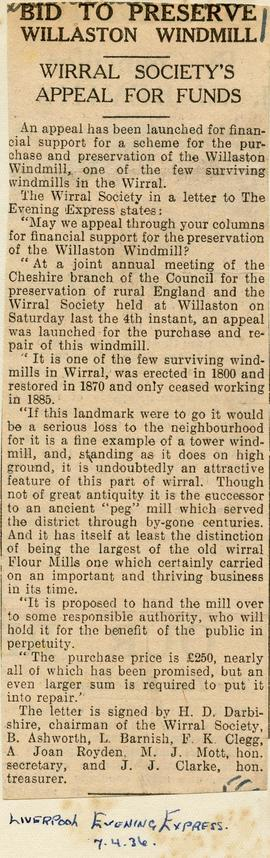 """Bid to preserve Willaston windmill"""