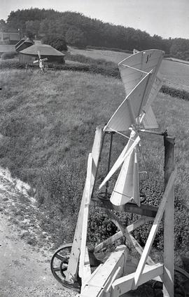 """Fan and fan carriage seen from rear door, Windmill at Cross in Hand, Sussex"""