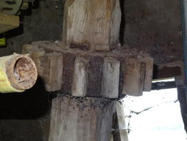 Nut off secondary upright shaft for dresser drive, Sneath's Mill, Lutton Gowts