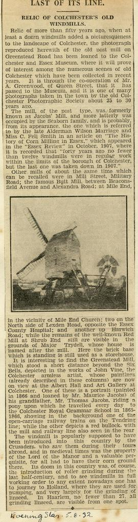 """Last of its line: Relic of Colchester's old windmills"""