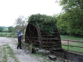 Farm wheel at Forston Farm on the River Cerne, north of Dorchester, Dorset
