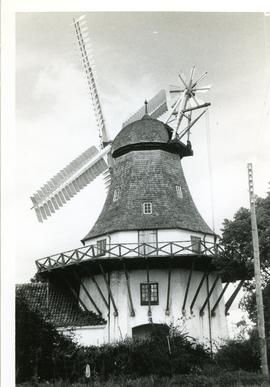 Preserved smock mill at Egeskov, Denmark, summer 1974