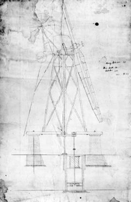 Section drawing of Horning Hall wind mill by Daniel England