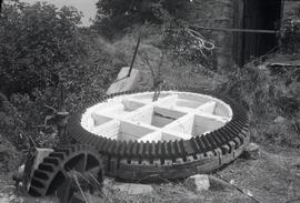 """Bradwell, Bucks - brakewheel removed from the wreckage of Bozeat Windmill, Northants"""