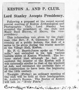 """Keston A and B Club - Lord Stanley accepts Presidency"""