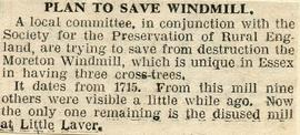 """Plan to save windmill"""