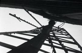 """Windmill at Lacey Green, Bucks - view of sail seen looking upwards from back of sail and main body"""