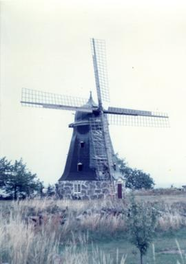 Preserved (undergoing repair) Swedish smock mill, summer 1974