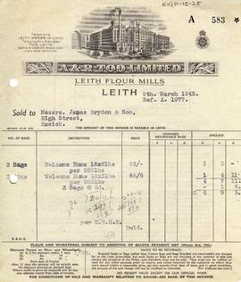 Bill for goods supplied by A and R Tod, Leith
