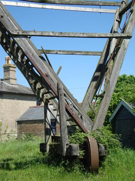 Ladder, fan carriage and tramwheels, post mill, Friston, Suffolk