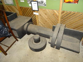 Fintail canister end of windshaft from Mutton Hall post mill, Heathfield, on display at smock mil...