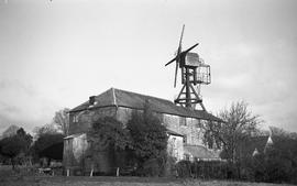 """Windmill mounted on watermill, West Ashling, Sussex"""