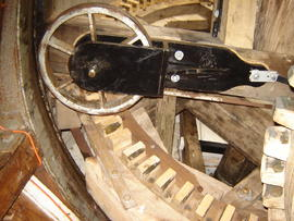 cap frame, brakewheel, centring wheel and curb, Lower Mill, Woodchurch