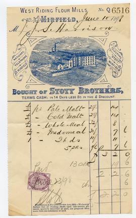 Bill from Stott Brothers, West Riding Flour Mill, Mirfield