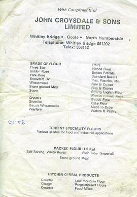 Whitley Bridge Advertising leaflet