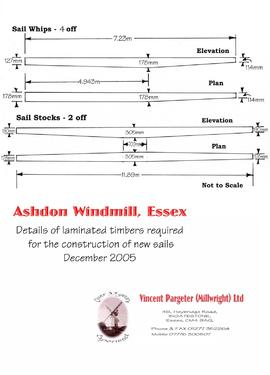 Details of timbers required for new sails, Ashdon Windmill, Essex