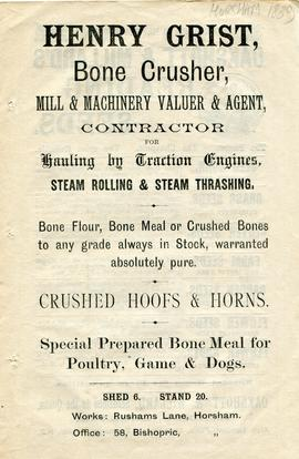 Flyer for Henry Grist, Bone Crusher, Mill and Machinery Valuer and Agent etc, of Horsham