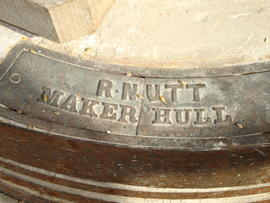 Maker's nameplate on stone, Subscription Mill, North Leverton