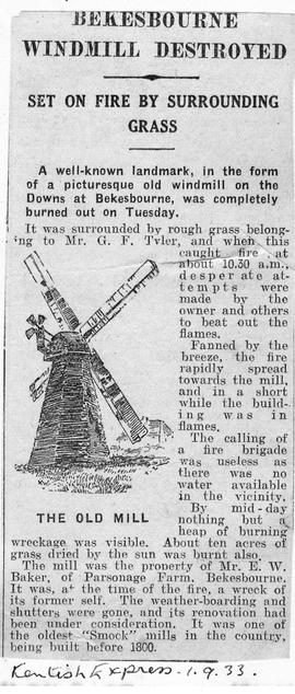 """Bekesbourne Windmill Destroyed - set on fire by surrounding grass"""