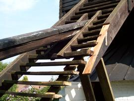 Steps of Fryerning mill being repaired