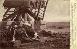 Wounded French soldiers by a post mill