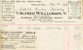 Billhead receipt of Alfred Williamson, North Mill Printing Works, Ashton-under-Lyne