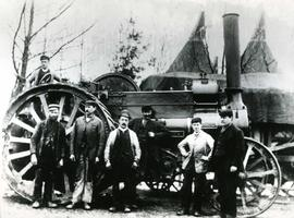 Agricultural steam traction engine with labourers ?Kent