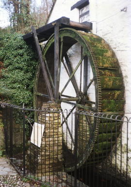 Crumplehorn Inn Polperro - G H Harris waterwheel - an import